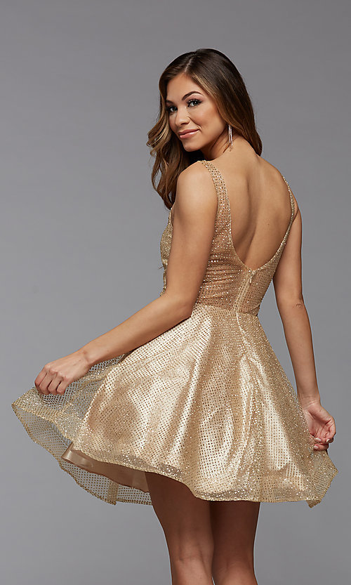 Image of sparkly short homecoming dress in glitter tulle. Style: PG-THC-21-26 Detail Image 2