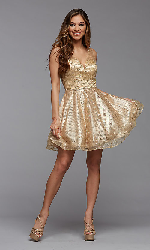 Image of sparkly short homecoming dress in glitter tulle. Style: PG-THC-21-26 Detail Image 3