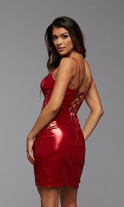 Image of metallic shimmer short corset homecoming dress. Style: PG-THC-21-40 Front Image