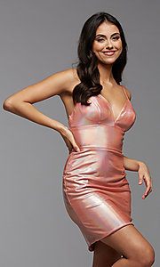 Image of short metallic PromGirl homecoming party dress. Style: PG-THC-21-41 Detail Image 1