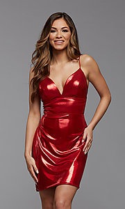Image of short metallic PromGirl homecoming party dress. Style: PG-THC-21-41 Front Image