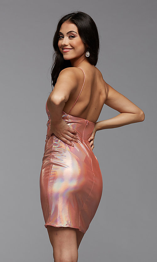 Image of short metallic PromGirl homecoming party dress. Style: PG-THC-21-41 Detail Image 2