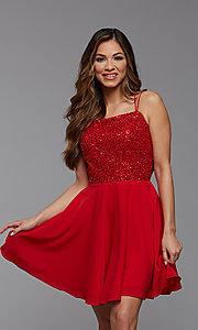 Image of short homecoming dance dress with strappy back. Style: PG-THC-21-44 Detail Image 1