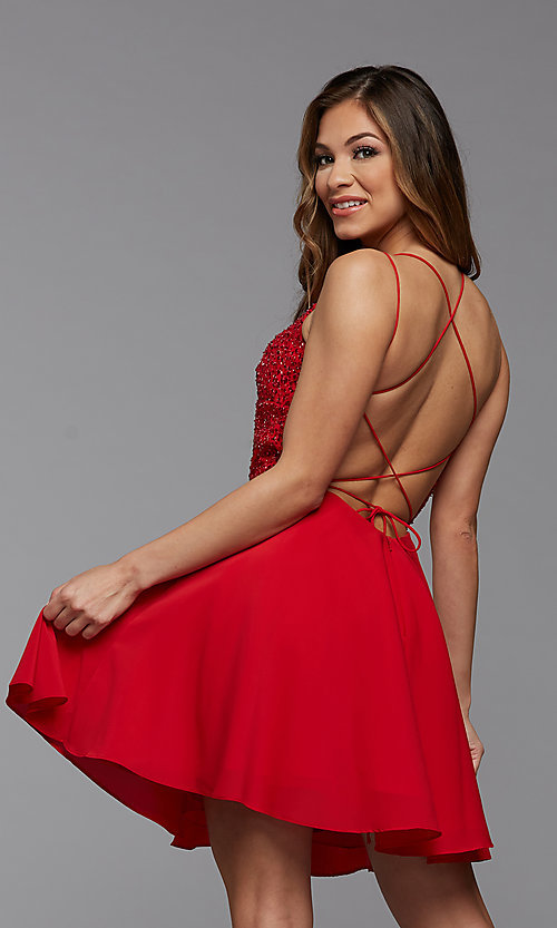 Image of short homecoming dance dress with strappy back. Style: PG-THC-21-44 Detail Image 2