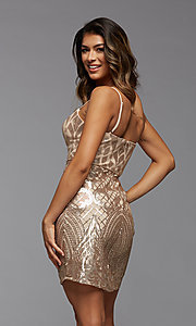 Image of short sparkly sequin sweetheart homecoming dress. Style: PG-THC-21-45 Back Image