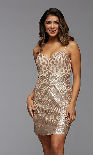 Short Sparkly Sequin Sweetheart Homecoming Dress