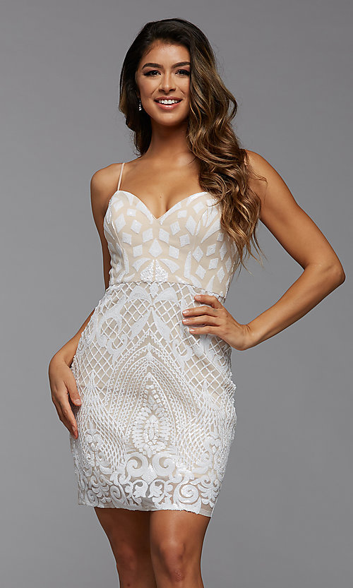 Image of short sparkly sequin sweetheart homecoming dress. Style: PG-THC-21-45 Detail Image 1