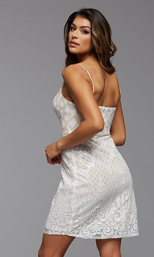 Image of short sparkly sequin sweetheart homecoming dress. Style: PG-THC-21-45 Detail Image 2