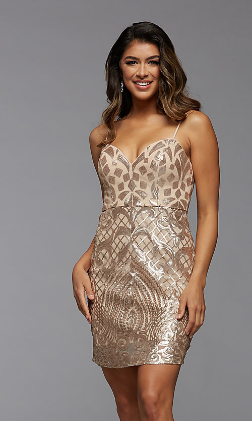Image of short sparkly sequin sweetheart homecoming dress. Style: PG-THC-21-45 Front Image