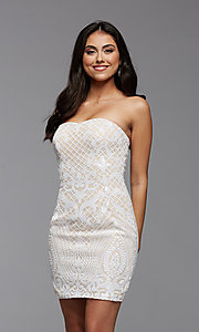 Image of strapless sequin short homecoming party dress. Style: PG-THC-21-46 Detail Image 1