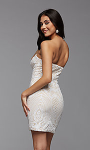 Image of strapless sequin short homecoming party dress. Style: PG-THC-21-46 Detail Image 2