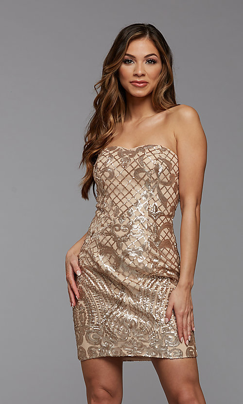 Image of strapless sequin short homecoming party dress. Style: PG-THC-21-46 Front Image