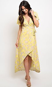 Image of yellow floral print casual high-low party dress. Style: FG-CLC-21-D8358WT Front Image
