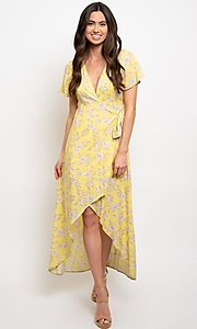 Image of yellow floral print casual high-low party dress. Style: FG-CLC-21-D8358WT Detail Image 1