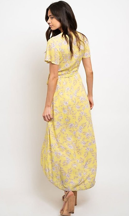 Image of yellow floral print casual high-low party dress. Style: FG-CLC-21-D8358WT Back Image