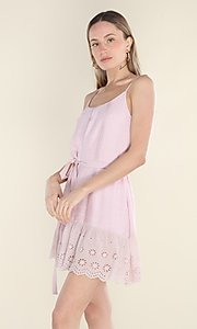 Image of blush pink short casual dress with eyelet lace hem. Style: FG-CLC-21-D7807ST Detail Image 1