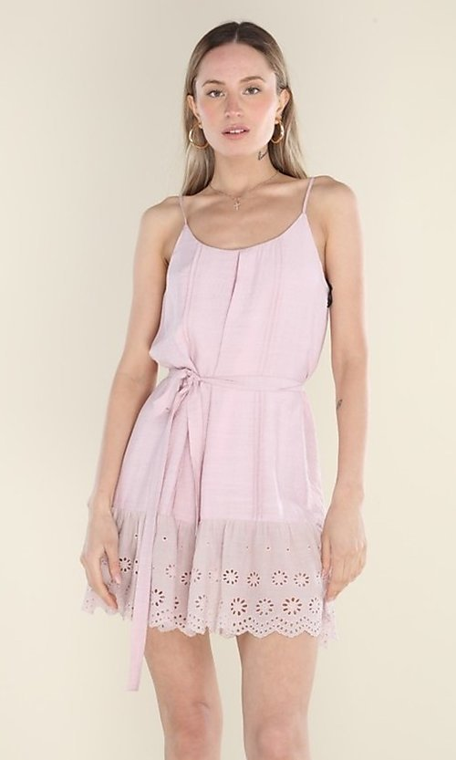 Image of blush pink short casual dress with eyelet lace hem. Style: FG-CLC-21-D7807ST Front Image