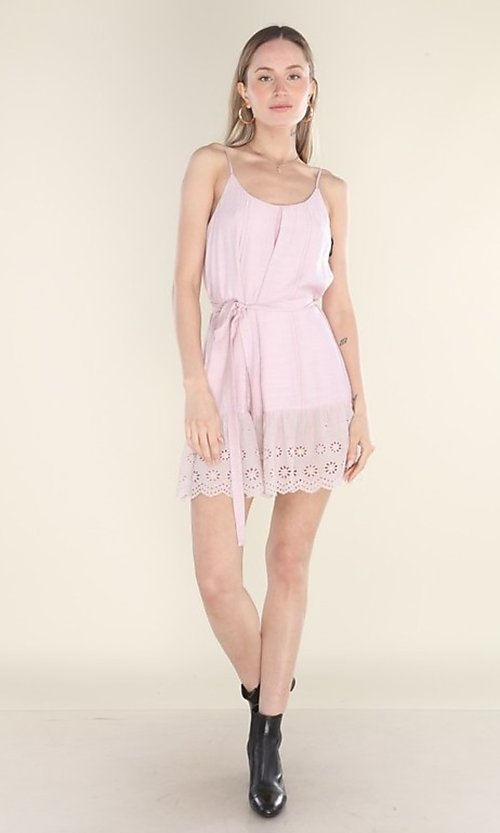 Image of blush pink short casual dress with eyelet lace hem. Style: FG-CLC-21-D7807ST Detail Image 2