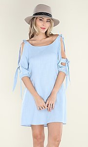 Image of pastel blue short casual shift dress with ties. Style: FG-CLC-21-D7111ST Front Image