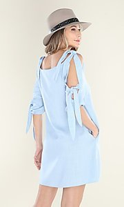 Image of pastel blue short casual shift dress with ties. Style: FG-CLC-21-D7111ST Back Image