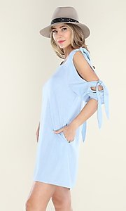 Image of pastel blue short casual shift dress with ties. Style: FG-CLC-21-D7111ST Detail Image 1