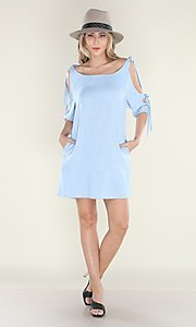 Image of pastel blue short casual shift dress with ties. Style: FG-CLC-21-D7111ST Detail Image 2