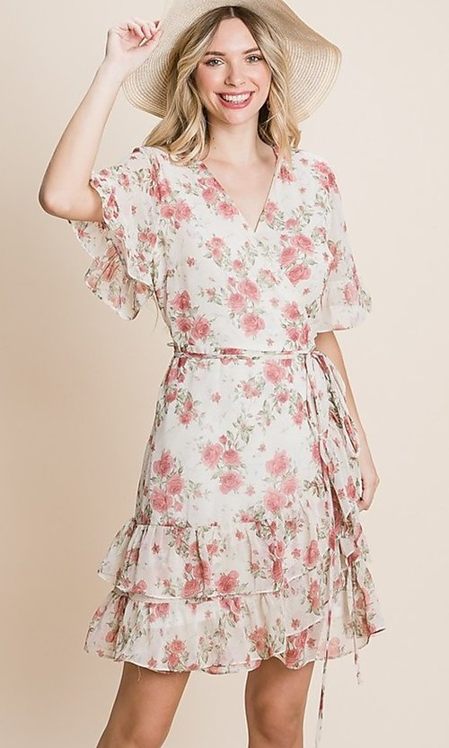 Image of pink floral-print short sprint casual party dress. Style: LAS-EM-21-G-128-NV Front Image