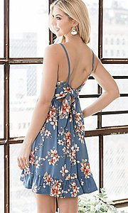 Image of floral print ruffle-hem short casual summer dress. Style: FG-OST-21-A78881-BX Detail Image 4
