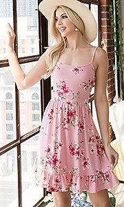 Image of floral print ruffle-hem short casual summer dress. Style: FG-OST-21-A78881-BX Front Image