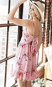 Image of floral print ruffle-hem short casual summer dress. Style: FG-OST-21-A78881-BX Back Image