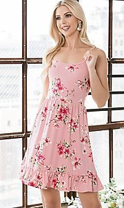 Image of floral print ruffle-hem short casual summer dress. Style: FG-OST-21-A78881-BX Detail Image 1