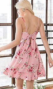 Image of floral print ruffle-hem short casual summer dress. Style: FG-OST-21-A78881-BX Detail Image 2