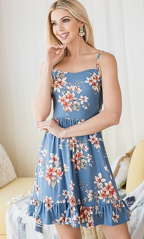 Image of floral print ruffle-hem short casual summer dress. Style: FG-OST-21-A78881-BX Detail Image 3