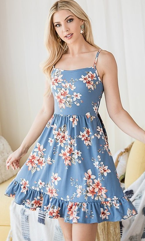 Image of floral print ruffle-hem short casual summer dress. Style: FG-OST-21-A78881-BX Detail Image 5