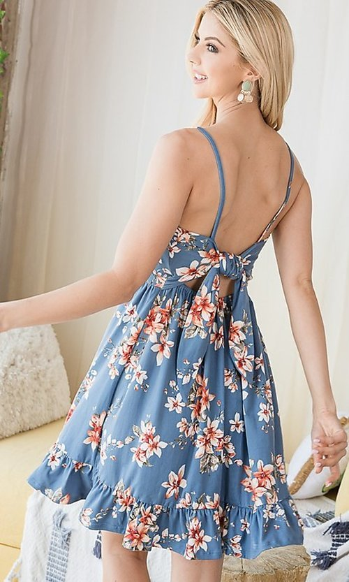 Image of floral print ruffle-hem short casual summer dress. Style: FG-OST-21-A78881-BX Detail Image 6