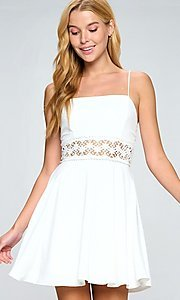 Image of short white casual party dress with lace waistband. Style: LAS-LOV-21-QD5122 Detail Image 1