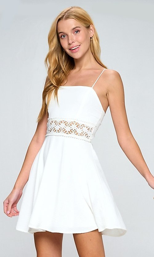 Image of short white casual party dress with lace waistband. Style: LAS-LOV-21-QD5122 Front Image