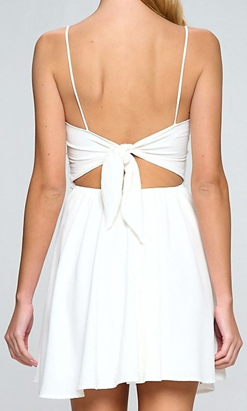 Image of short white casual party dress with lace waistband. Style: LAS-LOV-21-QD5122 Back Image