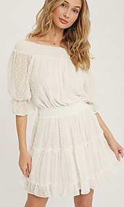 Image of off-the-shoulder Swiss dot half-sleeve party dress Style: FG-APB-21-CQ-AG1270 Front Image