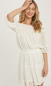 Image of off-the-shoulder Swiss dot half-sleeve party dress Style: FG-APB-21-CQ-AG1270 Detail Image 2