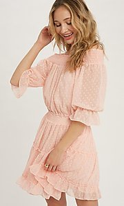 Image of off-the-shoulder Swiss dot half-sleeve party dress Style: FG-APB-21-CQ-AG1270 Detail Image 3