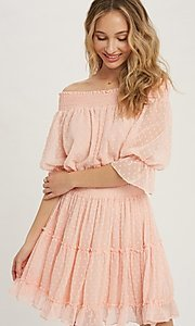 Image of off-the-shoulder Swiss dot half-sleeve party dress Style: FG-APB-21-CQ-AG1270 Detail Image 4