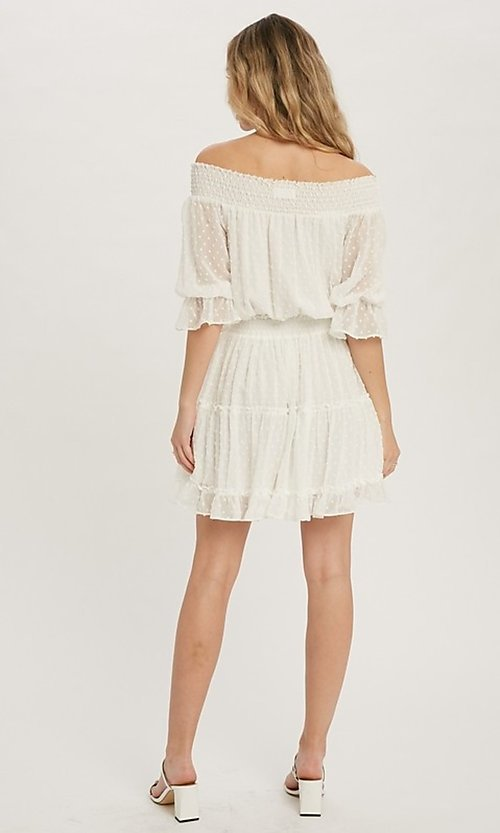 Image of off-the-shoulder Swiss dot half-sleeve party dress Style: FG-APB-21-CQ-AG1270 Back Image