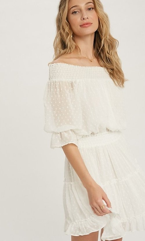 Image of off-the-shoulder Swiss dot half-sleeve party dress Style: FG-APB-21-CQ-AG1270 Detail Image 1