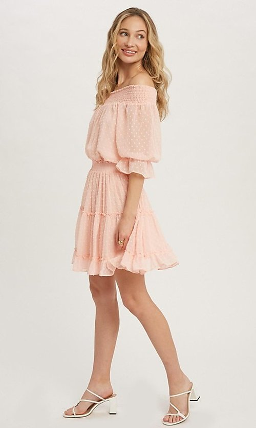 Image of off-the-shoulder Swiss dot half-sleeve party dress Style: FG-APB-21-CQ-AG1270 Detail Image 5