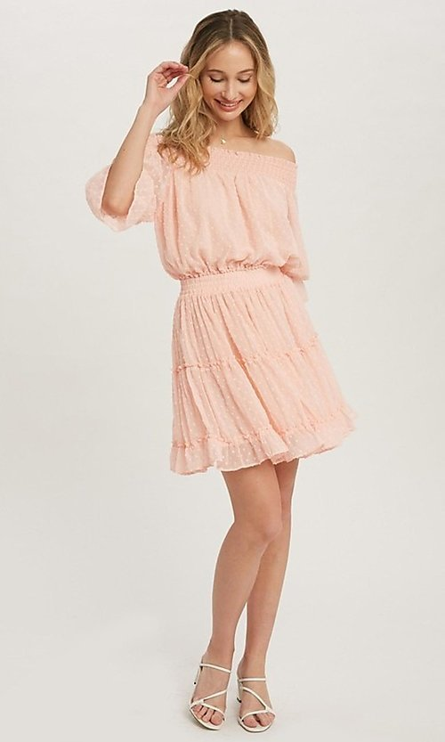 Image of off-the-shoulder Swiss dot half-sleeve party dress Style: FG-APB-21-CQ-AG1270 Detail Image 6