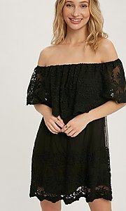 Image of off-the-shoulder short lace casual party dress. Style: FG-APB-21-CQ-AG1269 Detail Image 2
