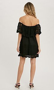 Image of off-the-shoulder short lace casual party dress. Style: FG-APB-21-CQ-AG1269 Detail Image 3