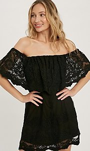 Image of off-the-shoulder short lace casual party dress. Style: FG-APB-21-CQ-AG1269 Detail Image 4