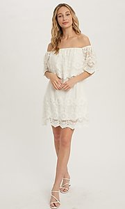 Image of off-the-shoulder short lace casual party dress. Style: FG-APB-21-CQ-AG1269 Front Image